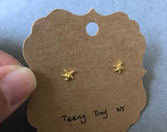 Gold Tiny Mini Starfish Stud Earrings  - Gold plated over Sterling Silver [GE1033]