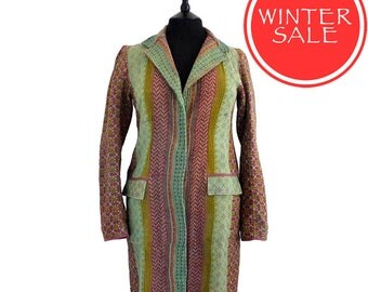 WINTER SALE - Large - Kantha Jacket - Classic style - Size 12/14 - Pale and mustard green dusty pink pattern.