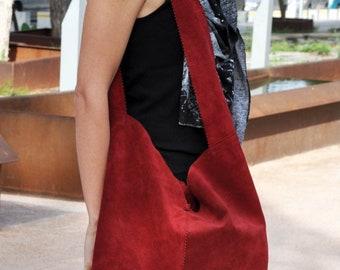 Women's shopper bag, shoulder bag / suede bag