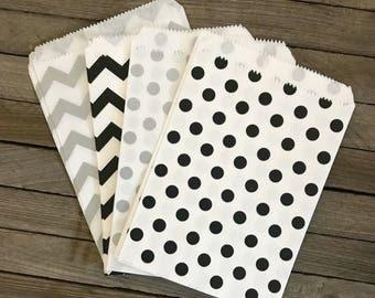 48 Black and Silver Favor Bag--Polka Dot Favor Sack--Black and Silver Candy Favor Bag-- Goodie Bag--Party Sack--Birthday Treat Sack, Chevron