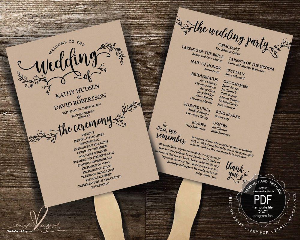 wedding program fan pdf template instant download editable. Black Bedroom Furniture Sets. Home Design Ideas