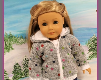 """18 inch doll, such as American Girl, """"Connect the Dots"""" hoodie"""