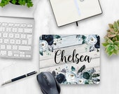 Country chic office decor| Navy and White mouse pad| Rustic office| Personalized Mouse Pad| Personalized office gift| Home office| Mouse Mat