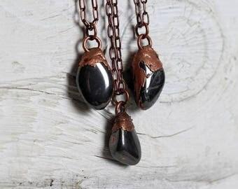Hematite Necklace Mixed Metals Electroformed Pendant Grey Stone Metallic Gemstone Copper Necklace