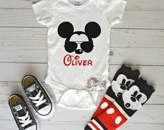 Personalized Mickey Mouse Onesie, Mickey Mouse Shirt, Disney Onesie, Disney Shirt, Mickey Outfit, Mickey Socks, Mickey Converse