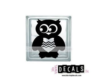Owl (with heart) - Animal and Pet Vinyl Lettering for Glass Blocks - Wildlife Craft Decals