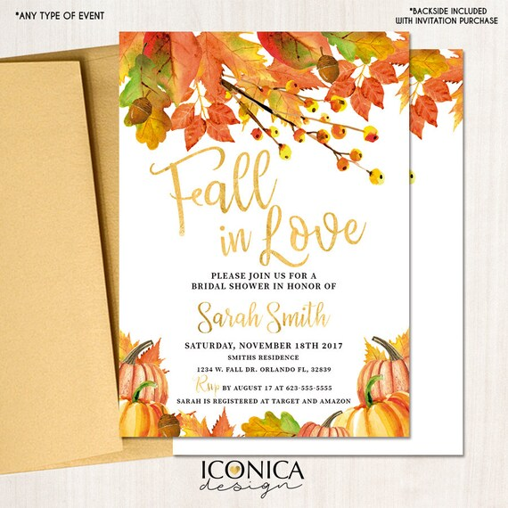 fall in love bridal shower invitation fall party invitations fall