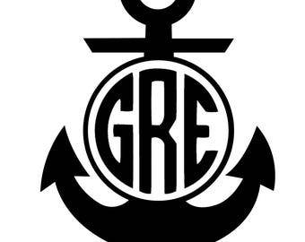 Anchor Decal - Monogram Vinyl Decal - For Phone, Car, Computer, Walls - Home Decor - Personalized Decal