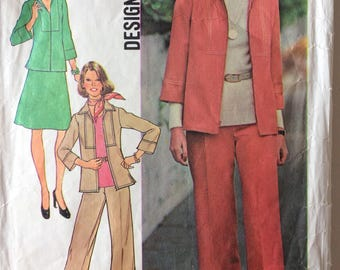 Vintage sewing pattern, Simpliciy 7087, miss size 16, bust 38'', shirt-jacket, skirt and pants, 70's fashion, 70's clothes, sewing supplies.