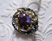 Beautiful Vintage 60s Aurora Borealis Rhinestone Adjustable Cocktail Ring
