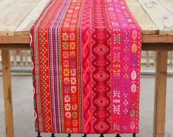 Bright pink runner, Acrylic table runner, multicolour dobby, aztec, Bohemian, size available