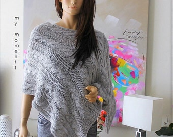 PONCHO Wool / Alpaka light grey melange