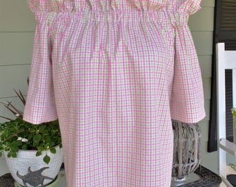 Women's top the Derby top in pink and lime gingham check Xsmall ,small & Large ONLY off the shoulder top custom made by Collyn Raye