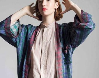 1980s Plaid Tissue Silk Kimono Robe  // One Size
