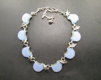 Vintage Coro Silver Tn Leaf & Pale Blue Choker Necklace Signed