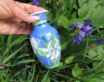 Vintage Asian Vase Blue Iris Vase Home Decor