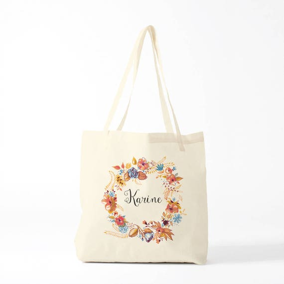 Tote Bag, Karine, custom, orange, name of your choice, birth gift, canvas bag name, custom tote bag, name on a bag, purse, groceries bag.