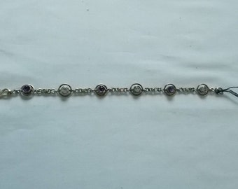 Sterling Silver Bracelet with Amethysts and Clear Rhinestones.  (602)