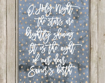 8x10 Christmas Printable, O Holy Night Art, Religious Typography Print, Religious Poster, Hymn Holiday Decor, Holiday Art, Instant Download