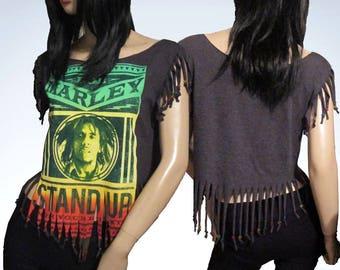 Bob Marley / Fringed / Rasta Beaded / Re Styled / Cut / Shredded / T Shirt / Size Small