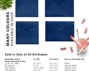 10 x Navy Envelopes, Blue Envelopes, 5x7 Envelopes, A2 Envelopes, A7 Envelopes, C5 Envelope, C6 Envelopes, Set of 10 Envelopes