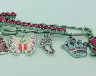 Pink Stroller pin, Pink bedazzled pin, Evil eye pin, hamsa pin, baby shower gift, muslim baby gift, jewish baby gift, evil eye safety pin