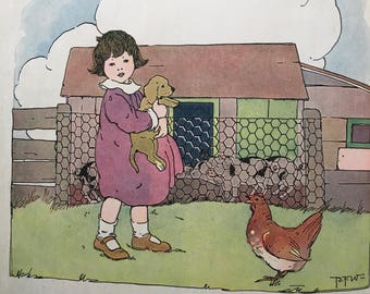 1910s Peter Patter Book~children's book with illustrations by Blanche Fisher Wright~ nursery decor collectible art from MilkweedVintageHome