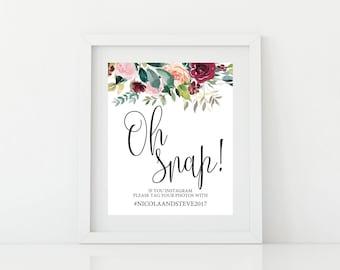 Printable Social media Wedding Sign - Digital PDF file - Wedding Hashtag Sign Printable - Hashtag Wedding Sign - Burgundy wedding sign