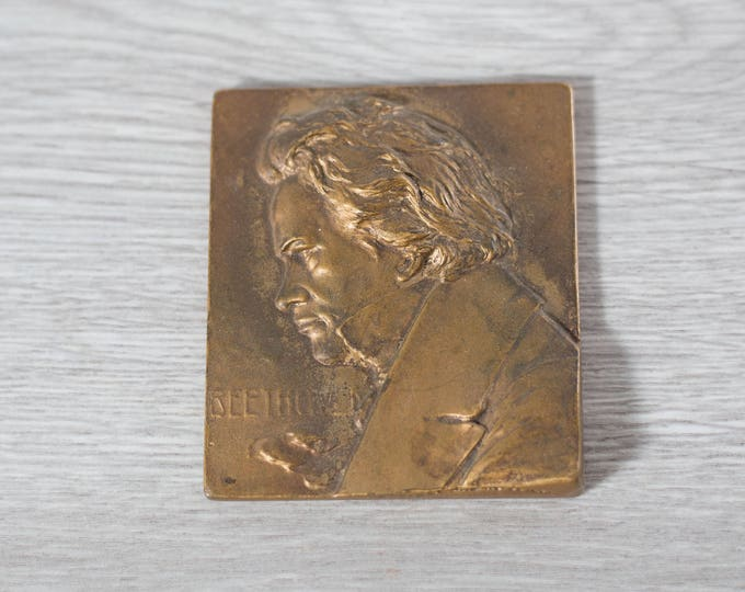 Antique Beethoven Plaque / Bronze Collectible Early Piece