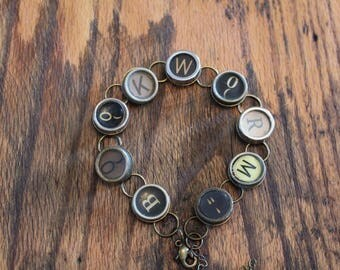 Bookworm Typewriter Key Bracelet,inspiration,steampunk,unique gift,recycled,upcycled,reclaimed,vintage gift,industrial