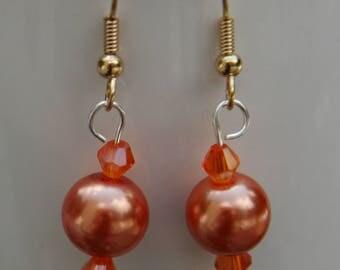 Orange Crystal Beaded Earrings