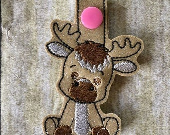 Moose - In The Hoop - Snap/Rivet Key Fob - DIGITAL EMBROIDERY Design