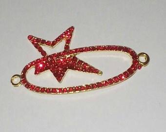X 1 base red rhinestone star connector gold