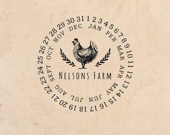 Date Wheel Fresh Farm Eggs stamp Custom rubber stamp Chicken Just Laid Handmade By Family Name Coop Laurel Rubber Stamp Pre-inked Stamp R658