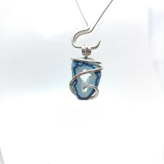 Raw Geode Pendant |  Raw Geode Necklace | Geode Slice Pendant | Sterling Silver Pendant | Tabasco Geode | Blue Druzy Pendant