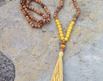 Necklace olive wood beads and Czech glass beads