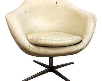 Mid-Century Lounge Chair Danish Modern Overman Chrome Swivel Pod Chair #1