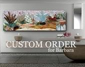 CUSTOM ORDER BALANCE- for Barbara-  succulent garden mosaic 24x42 in metal inlay frame
