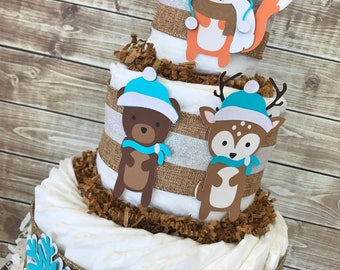 Winter Woodland Diaper Cake for Boys, Woodland Baby Shower Centerpiece