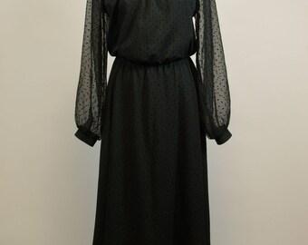 Black Dress Sheer Yoke and Sleeves Goth Schoolmarm Dress M Spiderweb Logo Label