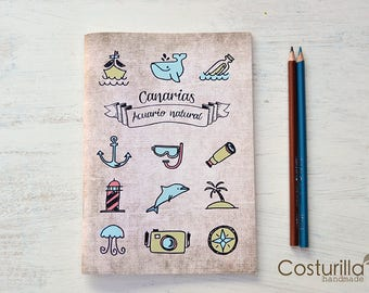 Nautical notebook, Diving gift, whales,  Traveler's Notebook, Back to School, Sketchbook, Ocean Journal, Small Notebook, Blank Notebook.