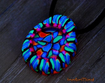 UV Blacklight Pendant Glass Gem and Clay Psychedelic Trippy Psy Art Goa