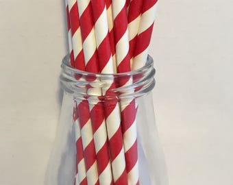 Red Stripe Paper Straws, Mason Jar Straws, Party Decor, Straws