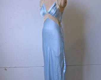 Blue Silk and Lace Night Gown