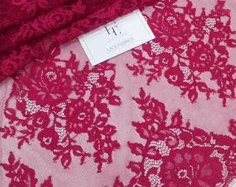 Raspberry red Lace fabric, Spanish Lace, Embroidered lace, Wedding Lace, Bridal lace, Evening dress lace, Lingerie Lace, French Lace L91033