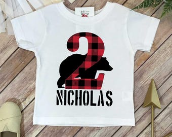 2nd Birthday Shirt, Lumberjack Birthday, Baby Boy Birthday shirt, Personalized Birthday Boy, Lumberjack Party, Buffalo Plaid,Second Birthday