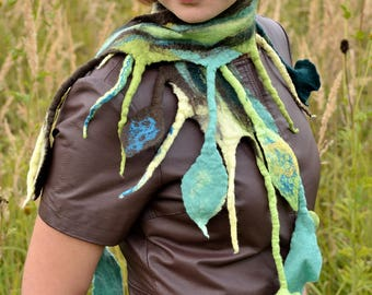 Green fringe scarf for a fairy, fancy women scarf for fall & spring, amazing scarf in turquoise and jadeite, unique and magical scarf [S26]