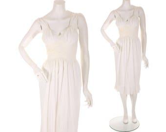 1950s White Nylon Semi Sheer Ruffle Hem Lingerie Slip Gown by Kayser -S-M