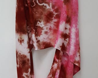Hand Dyed Rayon Infinity Scarf in Pink & Brown