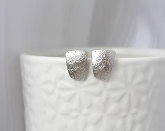 Earrings silver, silver texture stud earrings, post earrings